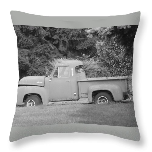 Truck Throw Pillow featuring the photograph Grounded Pickup by Pharris Art
