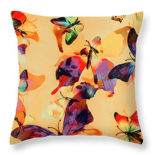 Background Throw Pillow featuring the photograph Group Of Butterflies With Colorful Wings by Jorgo Photography - Wall Art Gallery