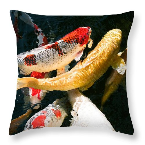 Fish Throw Pillow featuring the photograph Group Of Koi Fish by Dean Triolo