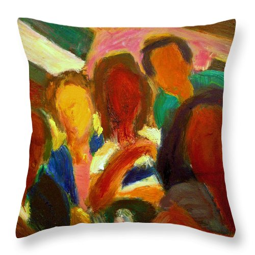 Dornberg Throw Pillow featuring the painting Group Photo by Bob Dornberg
