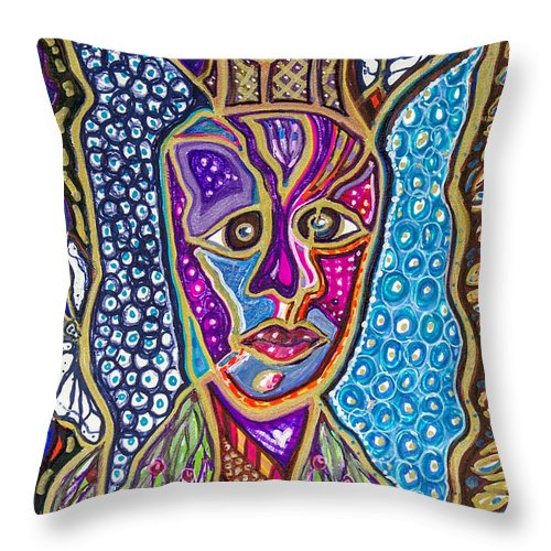 Heart Throw Pillow featuring the painting Growing Myself by Laurel Rosenberg