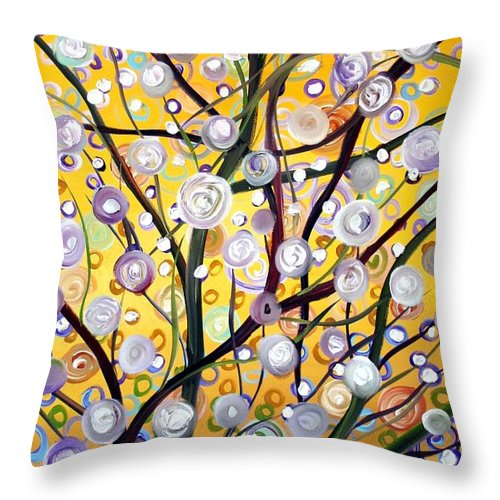 Landscape Throw Pillow featuring the painting Growing Together by Luiza Vizoli