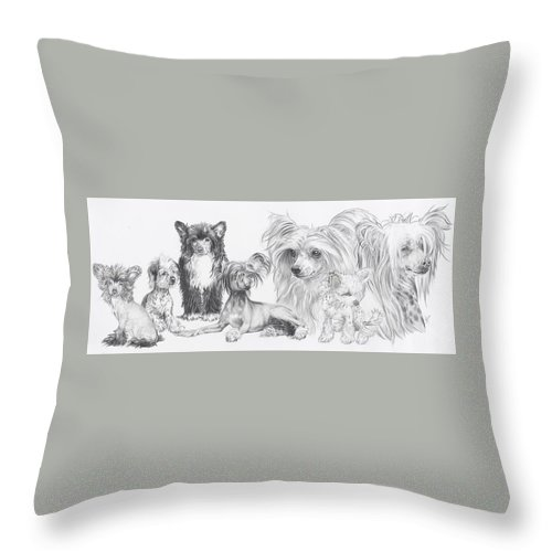 Toy Group Throw Pillow featuring the drawing Growing Up Chinese Crested And Powderpuff by Barbara Keith