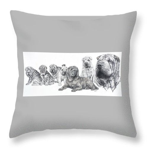 Dog Throw Pillow featuring the drawing Growing Up Chinese Shar-pei by Barbara Keith