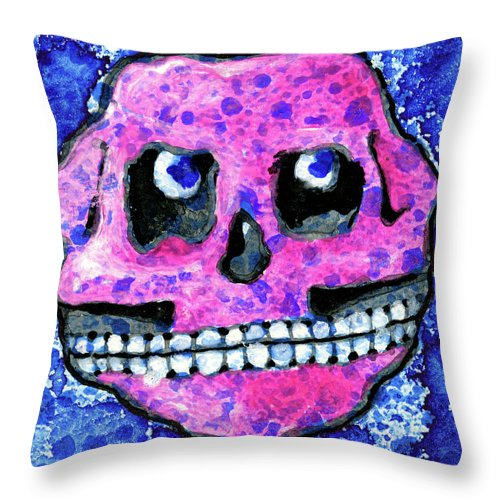 Throw Pillow featuring the painting Grumbles The Discontent Purple by Miko Arts