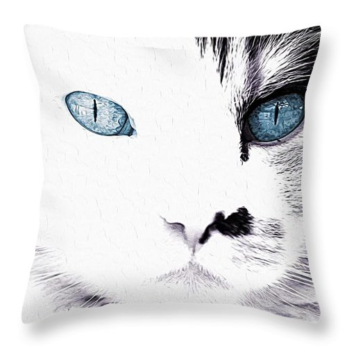 Cats Throw Pillow featuring the painting Grumpy Cat Portrait by Queso Espinosa