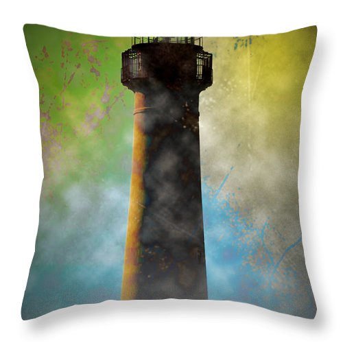 Grunge Throw Pillow featuring the photograph Grunge Lighthouse by Bill Cannon