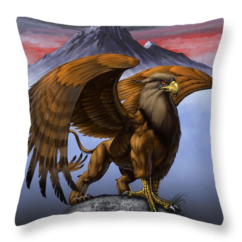 Fantasy Throw Pillow featuring the digital art Gryphon by Stanley Morrison