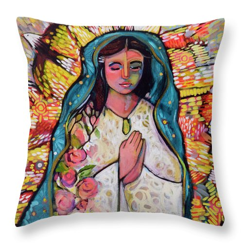 Jen Norton Throw Pillow featuring the painting Guadalupe by Jen Norton
