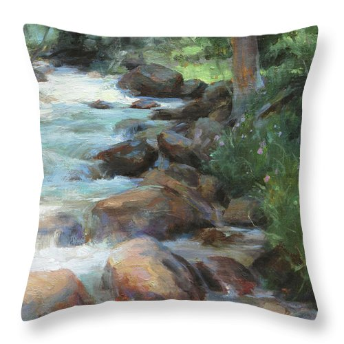 Guanella Pass Throw Pillow featuring the painting Guanella Pass Stream by Anna Rose Bain
