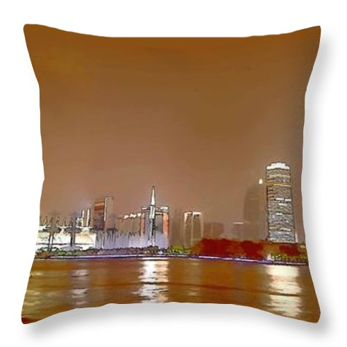 Guangzhou Tv Tower Throw Pillow featuring the painting Guangzhou Tv Tower by Jeelan Clark
