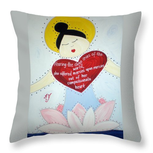 Holy Throw Pillow featuring the painting Guanyin by Angela Yarber