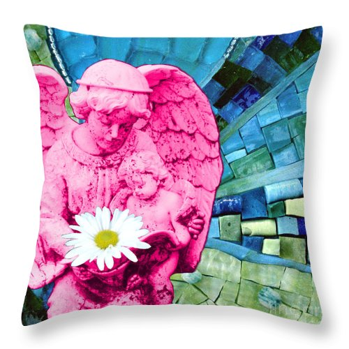 Pink Throw Pillow featuring the photograph Guardian Angel by Valerie Fuqua