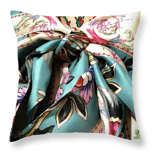 Fabric Throw Pillow featuring the photograph Garden Bow by Ceil Diskin