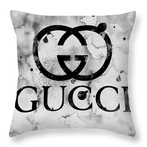 8a26d3a7bfc Gucci Logo Black 1 Throw Pillow for Sale by Del Art