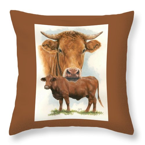 Cow Throw Pillow featuring the mixed media Guernsey by Barbara Keith