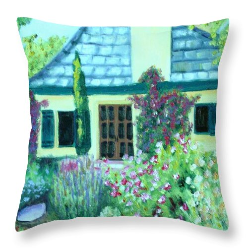Cottage Throw Pillow featuring the painting Guest Cottage by Laurie Morgan