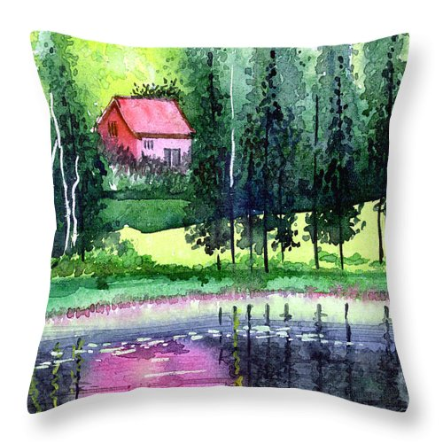 Landscape Throw Pillow featuring the painting Guest House by Anil Nene