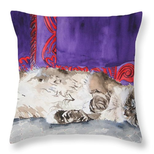 Cat Throw Pillow featuring the painting Guilley by Jean Blackmer