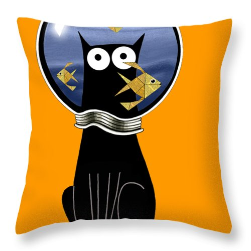 Goldfish Throw Pillow featuring the digital art Guilty by Andrew Hitchen