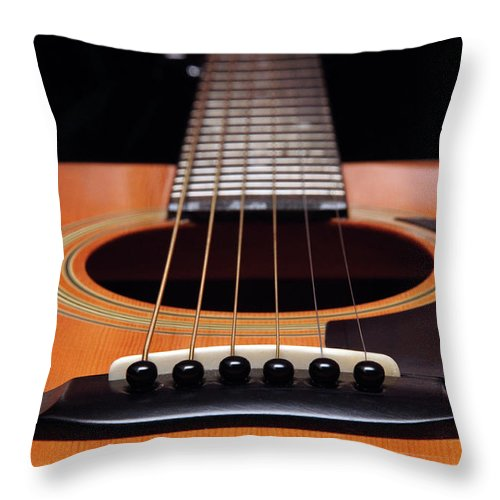 Andee Design Guitar Throw Pillow featuring the photograph Guitar 12 by Andee Design