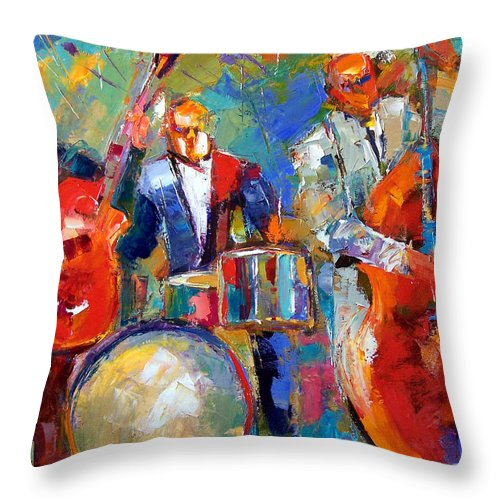 Jazz Painting Throw Pillow featuring the painting Guitar Drums And Bass by Debra Hurd