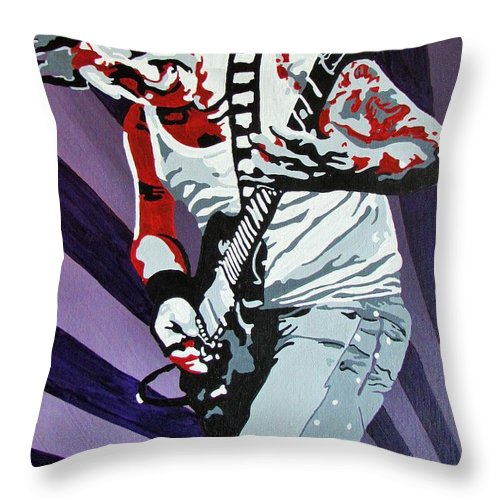 Guitar Throw Pillow featuring the painting Guitar Hero by Gary Holden