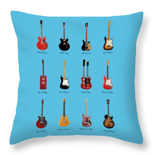Fender Stratocaster Throw Pillow featuring the photograph Guitar Icons No1 by Mark Rogan