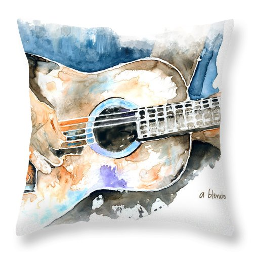 Guitar Throw Pillow featuring the painting Guitar Riffs... by Arline Wagner