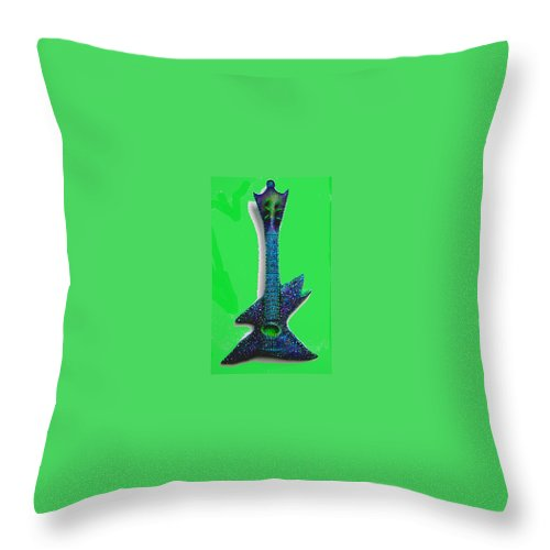 Fish Throw Pillow featuring the mixed media Guitar Shark Sold by Dan Townsend