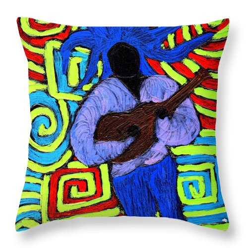 Music Throw Pillow featuring the painting Guitar Solo by Wayne Potrafka