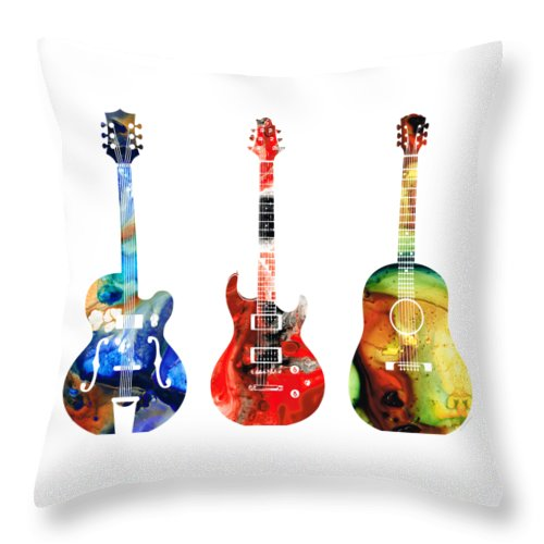 Guitar Throw Pillow featuring the painting Guitar Threesome - Colorful Guitars By Sharon Cummings by Sharon Cummings