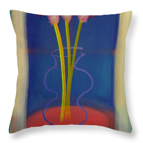 Guitar Throw Pillow featuring the painting Guitar Vase by Charles Stuart