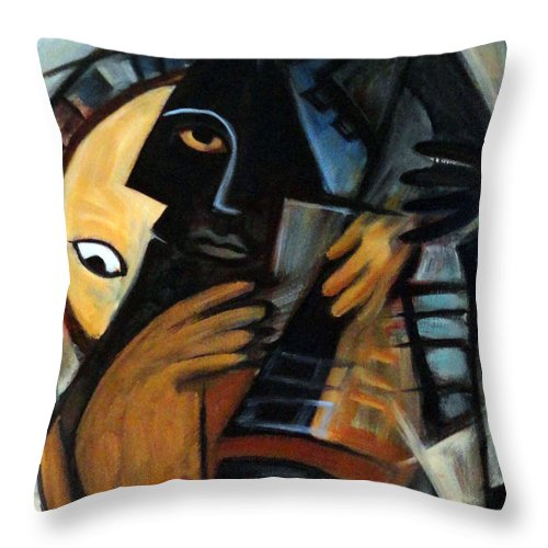 Cubism Throw Pillow featuring the painting Guitarist by Valerie Vescovi