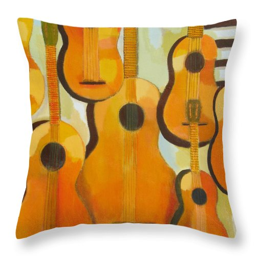 Abstract Throw Pillow featuring the painting Guitars by Habib Ayat