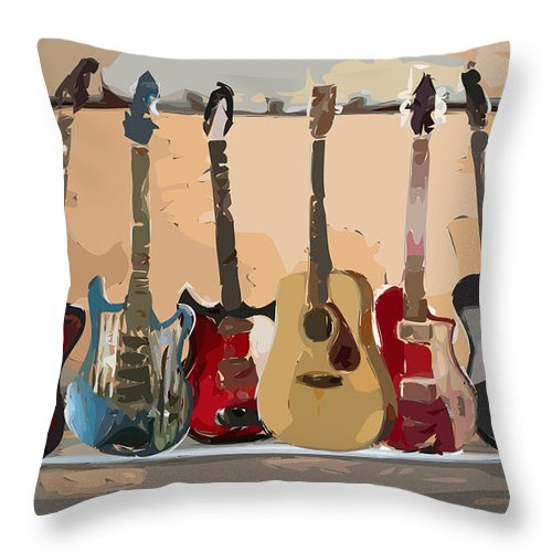 Guitar Throw Pillow featuring the digital art Guitars On A Rack by Arline Wagner