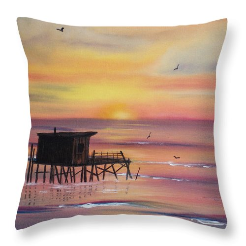 Sunset Throw Pillow featuring the painting Gulf Coast Fishing Shack by Susan Kubes
