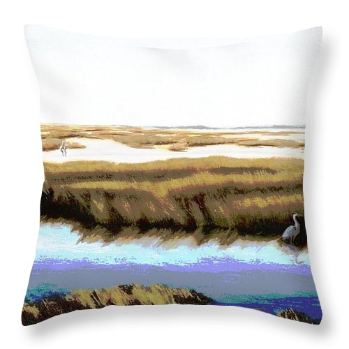 Seascapes Throw Pillow featuring the painting Gulf Coast Florida Marshes I by G Linsenmayer