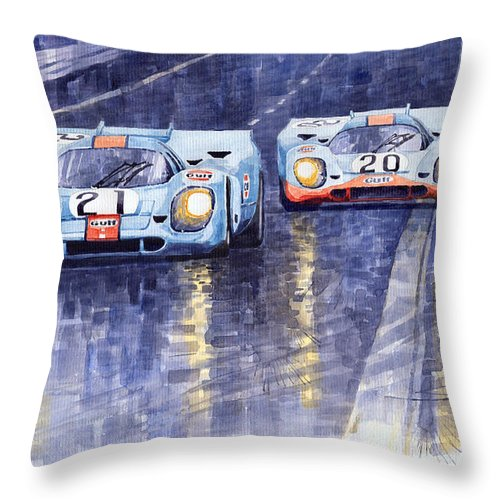 Watercolour Throw Pillow featuring the painting Gulf-porsche 917 K Spa Francorchamps 1970 by Yuriy Shevchuk