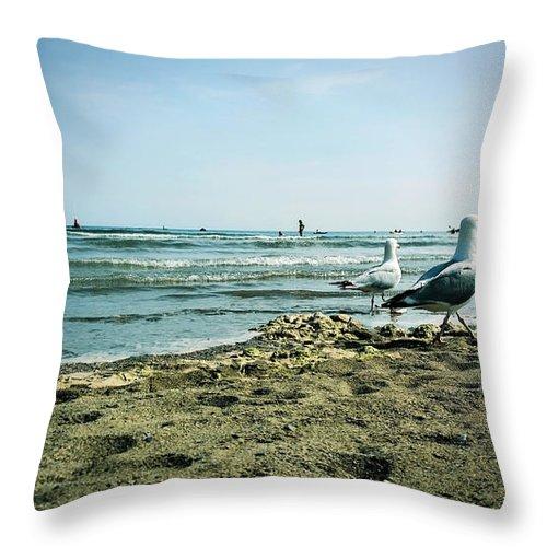 Sand Throw Pillow featuring the photograph Gull Beach by Sebastien Coell