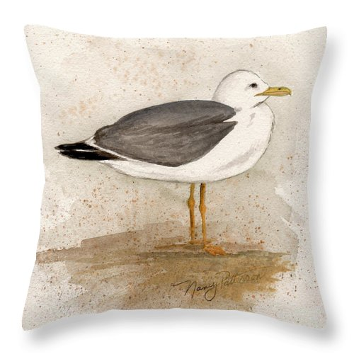 Seagull Throw Pillow featuring the painting Gull by Nancy Patterson