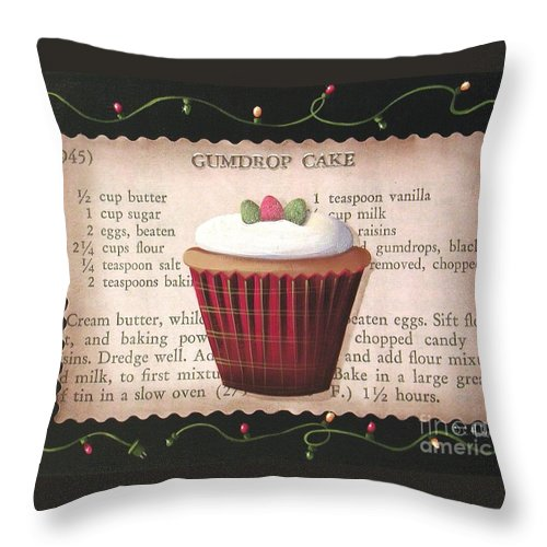 Art Throw Pillow featuring the painting Gumdrop Cupcake by Catherine Holman