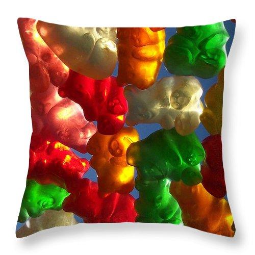 Candy Rainbow Treat Colorful Gummy Bears Throw Pillow featuring the photograph Gummybears 2 by Anna Villarreal Garbis