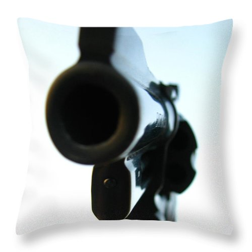 Guns Throw Pillow featuring the photograph Gun by Amanda Barcon