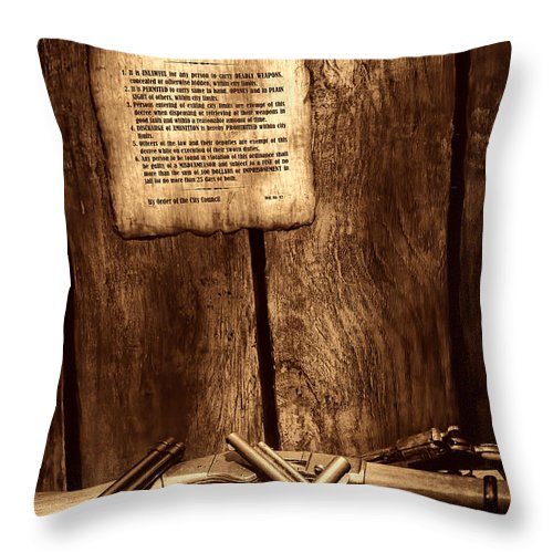 Western Throw Pillow featuring the photograph Gun Control by American West Legend By Olivier Le Queinec