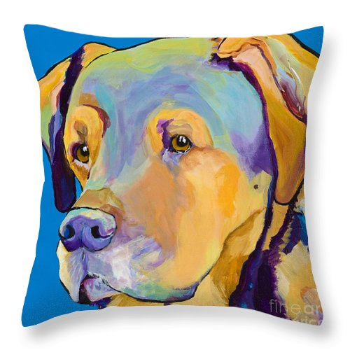 Dog Portrait Throw Pillow featuring the painting Gunner by Pat Saunders-White