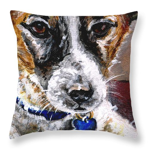 Chartiy Throw Pillow featuring the painting Gunter From Muttville by Mary-Lee Sanders