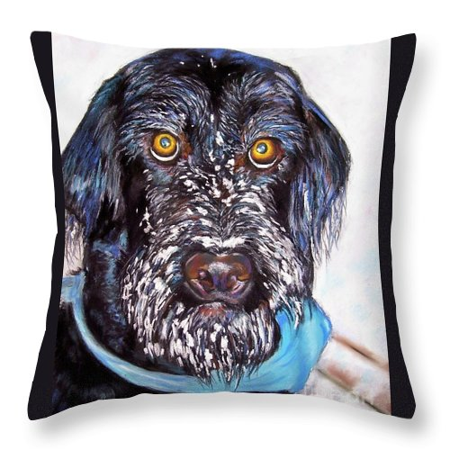Dog Throw Pillow featuring the painting Gus by Frances Marino