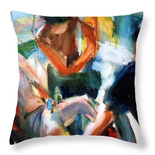 Dornberg Throw Pillow featuring the painting Guys Out Sailing by Bob Dornberg