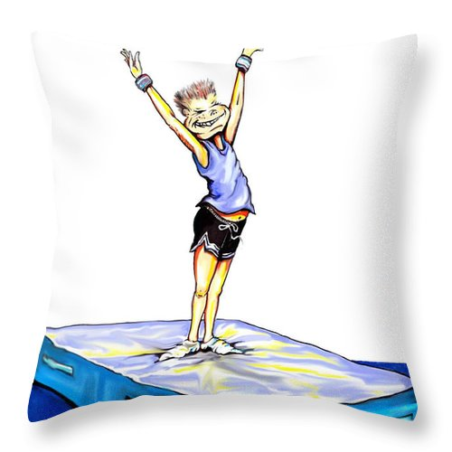 Cartoon Throw Pillow featuring the drawing Gymnastic Perfection by Keith Naquin